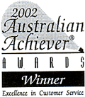 2002 Australian Achiever Awards winner excellence in customer service.