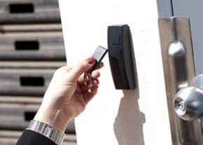 Bosch access control with key card verification.
