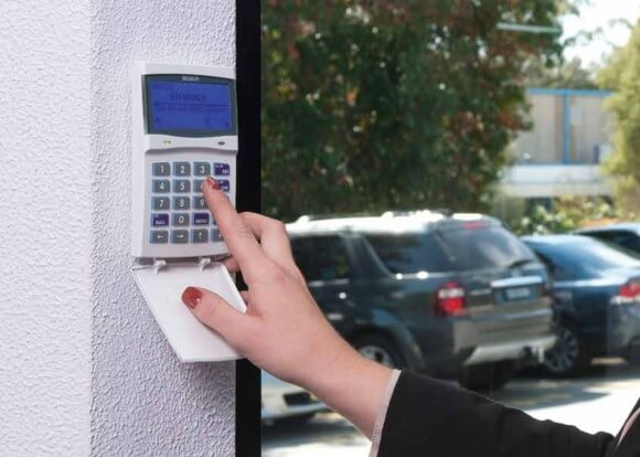 Bosch alarm system with a keypad.
