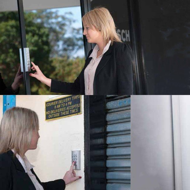 Lady using access control keypads.